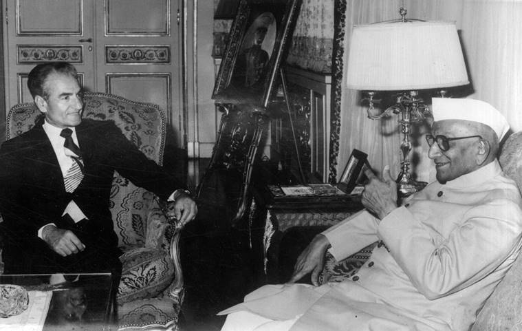 morarji desai with shah of iran