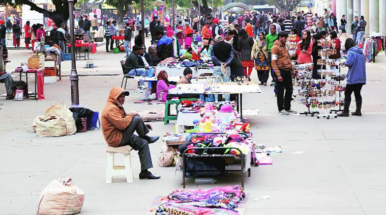 Street vendors in Chandigarh, vendors swelled, encroachment in sector-17, Indian Express,