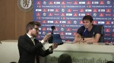 WATCH: Antonio Conte presented with Manchester United shirt signed by Jose Mourinho