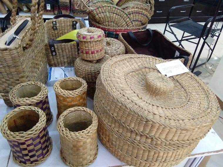water hyacinth, water hyacinth northeast products, water hyacinth yoga mats, water hyacinth bags, northeast crafts, indian express, indian express news