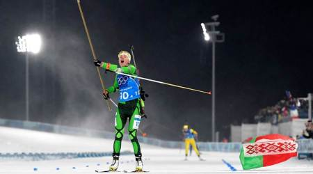 Winter Olympics 2018: Darya Domracheva, Belarus handle heavy winds to win biathlon relay