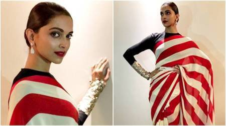 Deepika Padukone's candy-striped Sabyasachi sari look is quirky, but a big letdown