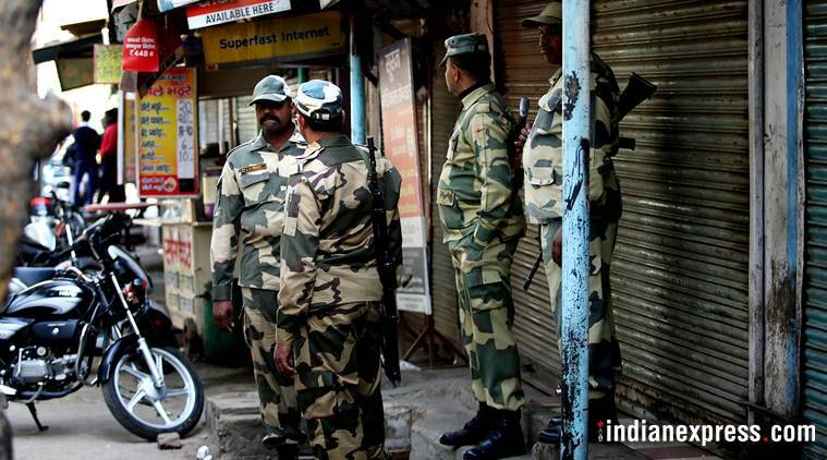 Forces deployed at the spot where Ankit Saxena was murdered. (Express photo/Praveen Khanna)