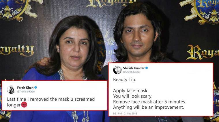Farah Khan, Farah Khan twitter, Shirish Kunder, Shirish Kunder twitter, Farah Khan Shirish Kunder cute banter, Farah Khan-Shirish Kunder cute banter on Twitter, Indian express, trending news