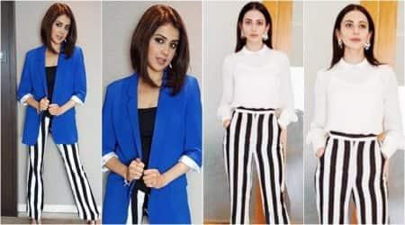 Genelia Deshmukh or Rakul Preet Singh: Who wore the monochrome striped pantsbetter?