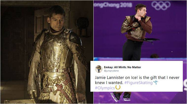 winter olympics, olympics 2018, game of thrones, got olymics, got theme music olympics, olympics got performance, game of thrones in winter olympics, jamie lannister, figure skating, paul fentz, PyeongChang 2018, viral video, indian express