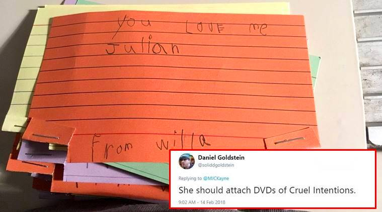 viral stories, 5-year-old girl writes Valentine's Day cards, Valentine's Day, Valentine's Day stories, Valentine's Day cards, Twitter funny moments, funny kid stories, indian express, indian express news
