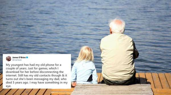 grandparents, children grandparents stories, kid talk to dead grandparent, kid text dead grandpa, kids with grandparent, heartwarming stores, good news, viral news, indian express