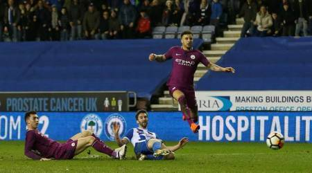 Will Grigg scored for Wigan Athletic against Manchester City in the FA Cup