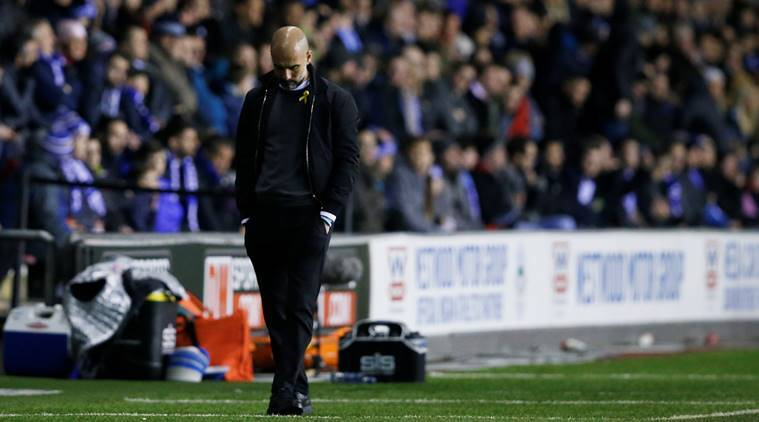 Pep Guardiola during defeat to Wigan Athletic in FA Cup at DW Stadium