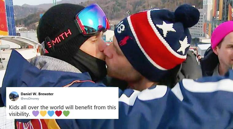 winter olympics, Pyeongchang Games, gus kenworthy, gay skier kiss partner, gay skier kiss boyfriend olymipcs, LGBTQ, love in olympics, olympics love, gay athlete kiss olympics, winter olympics news sports news, indian express, viral news, viral videos,