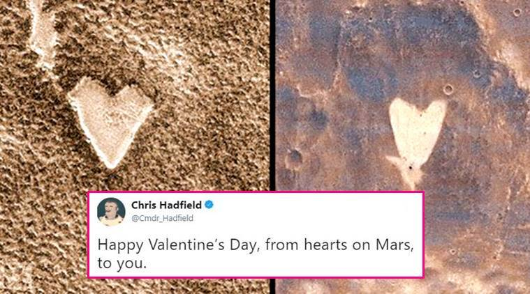 valentines day 2018, valentines day hearts, hearts on mars, valentines day mars wishes, nasa mars photos, mars hearts on craters, hearts on mars chris hadfield, indian express, indian express news