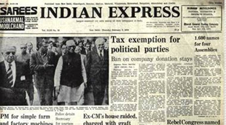 Forty years ago, the Express front page