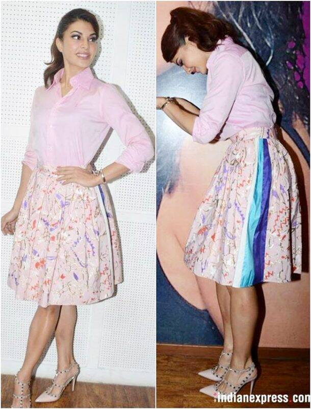 Jacqueline Fernandez was seen as her bubbly self in a pink shirt and floral skirt.