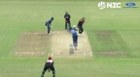 Ball ricochets off bowler's head, ends up going for a six; watch video