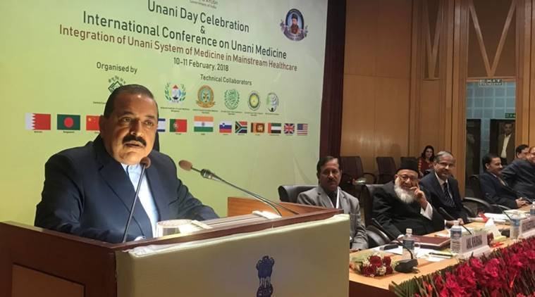 Union Minister Jitendra Singh speaking at theconference on Unani Medicine