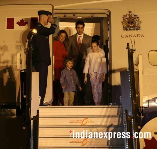 justin trudeau photos, justin trudeau pics, trudeau family images, canada pm images, justin trudaeu family photos, justin trudeau india visit pictures, canadian pm in india pics, indian express