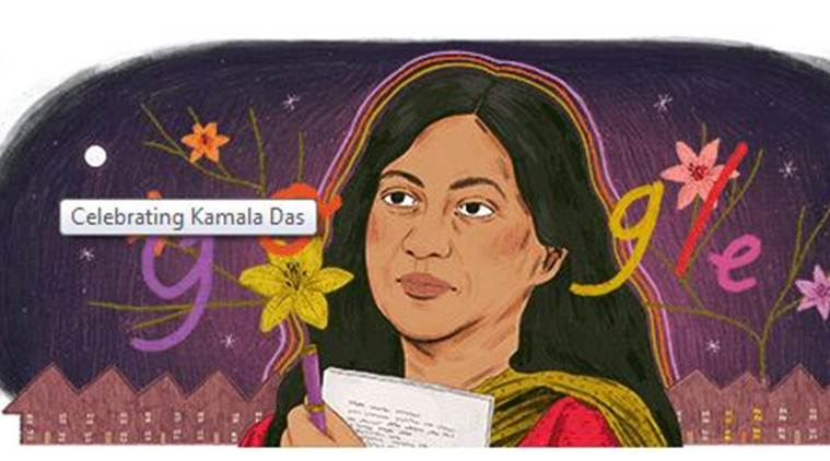 Kamala das, google doodle, kamala das google doodle, kamala suraiya, who is kamala das, who is kamala suraiyya, aami, google doodle, google doodle on kamala das, aami malayalam movie, aami controversy, feminist author kamala das, kamala das biography, kamala das poems