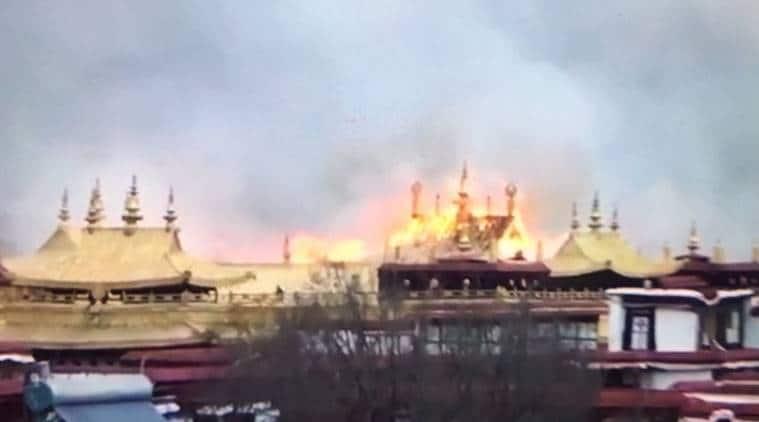 lhasa fire, tibetan monastery fire, buddhist temple fire, lhasa tibet, world news, indian express