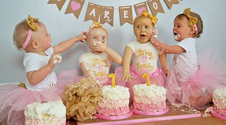 Mother Makes Life Sized Birthday Cake For Her Twin Daughters And