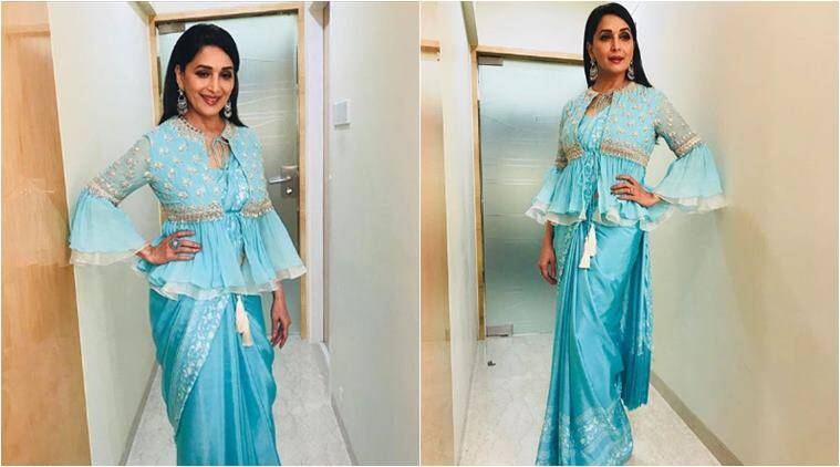 madhuri dixit, lfw 2018 collection, sari look, interesting sari draping ideas, different way to wear sari, madhuri dixit looks, celeb fashion, bollywood fashion, lifestyle news, indian express,