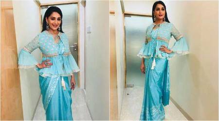 Madhuri Dixit's latest sari look with a short jacket is giving a Navratri vibe in spring