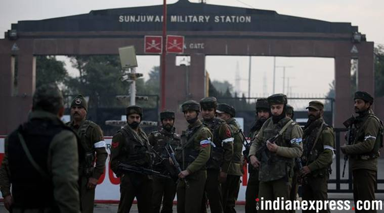 sunjuwan camp, stones pelted at sunjuwan camp, indian express, jammu kashmir news, sunjuwan military station, kashmir terror, kashmir police, sunjuwan camp attack