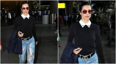 Malaika Arora shows us different ways to style holographic denims this spring; see pics