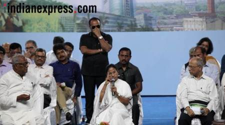 Mamata Banerjee at an administrative review meeting at Barasat