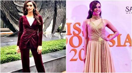 Manushi Chhillar in a golden gown or velvet pantsuit: Which look do you prefer?
