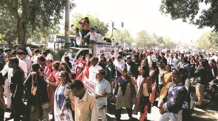 Unpaid for over three months, MCD teachers take tostreets