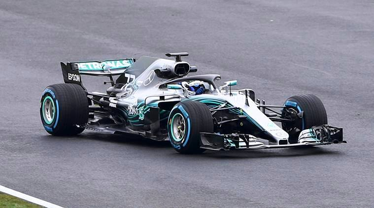 Mercedes car for the 2018 season being driven by Valterri Bottas