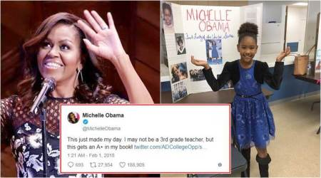 9-yr-old girl dresses up like Michelle Obama; gets an A+ from her hero for school project