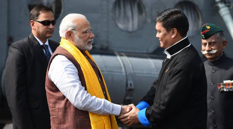 Arunachal Pradesh Chief Minister Pema Khandu welcome Prime Minister Narendra Modi to the state on Thursday. (Photo: Twitter/@PMOIndia)