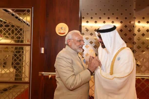 narendra modi photos, pm modi UAE images, Modi Dubai pictures, dubai hindu temple pics, modi dubai visit pics, uae crown prince pics, prince zayed images, indian express