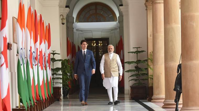 PM Modi with his Canadian counterpart Justin Trudeau
