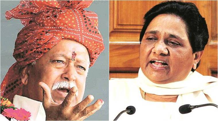 "Mayawati hits out at RSS chief Mohan Bhagwat, saying, ""he should apologise to the country"""