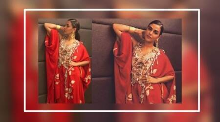 Neha Dhupia's blingy red outfit for Goa carnival is blinding
