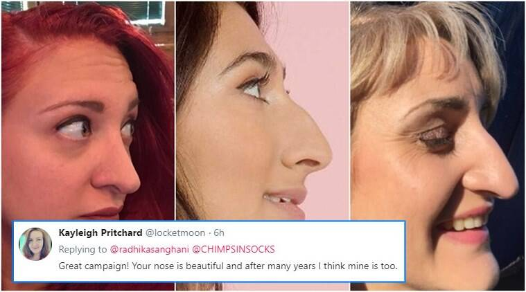 #sideprofileselfie, Women sharing pictures of their nose, nose pictures, funny nose pictures, twitter nose pictures, Indian express, indian express news
