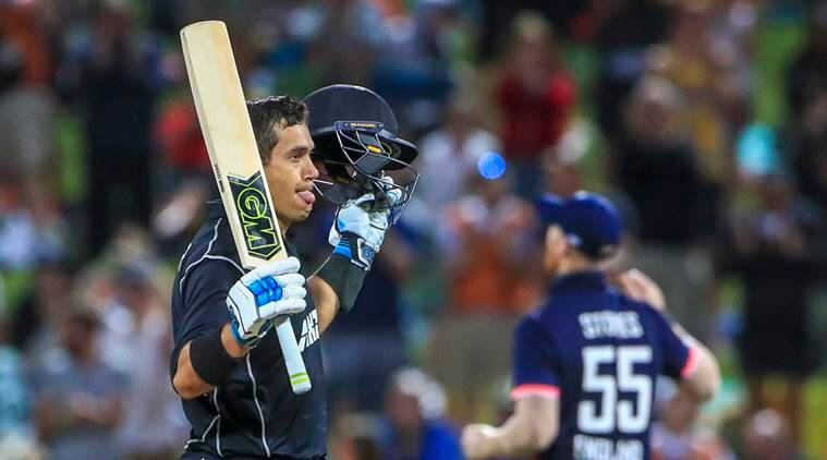 Ross Taylor celebrates his hundred against England in the first ODI