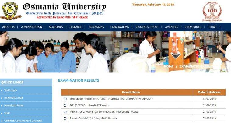 ou degree result, osmania university results, ou december results