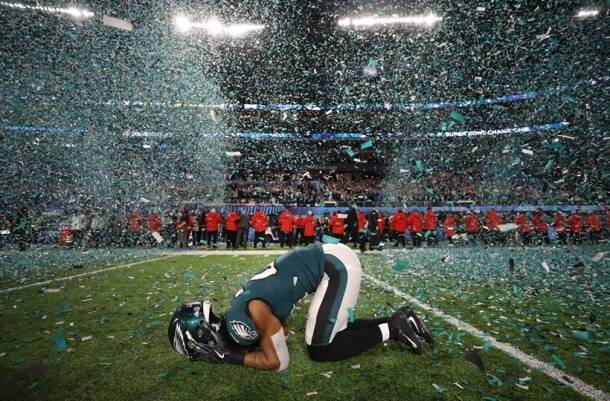 Philadelphia Eagles' Patrick Robinson celebrates winning Super Bowl LII.