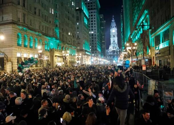 Fans engulfed downtown Philadelphia to celebrate Eagles' Super Bowl win