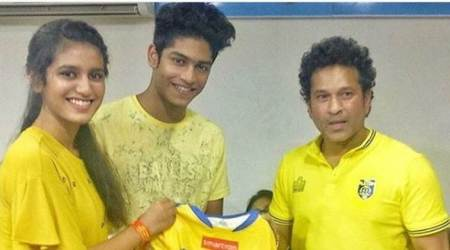 Internet sensation Priya Varrier meets Sachin Tendulkar at ISL match in Kochi
