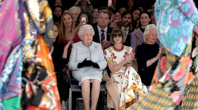 Queen Elizabeth 2, Queen Elizabeth 2 london fashion week, Queen Elizabeth 2 burberry show, Queen Elizabeth 2 fahsion show, indian express, indian express news
