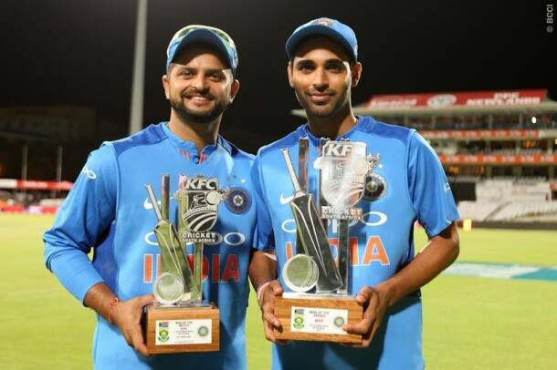 Suresh Raina with Bhuvneshwar