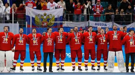 Winter Olympics 2018: Russians sing banned national anthem after beating Germany to gold in men's ice hockey
