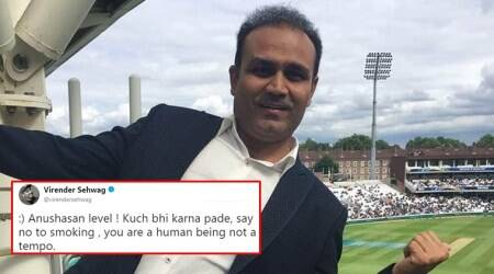 Sehwag's extreme advice on how to say 'no to smoking' gets quite a laugh on the Internet