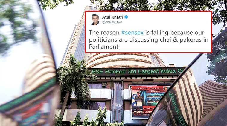 sensex, stock market falls, sensex jokes on twitter, sensex tweets, stock market, bse, sensex india, indian express, indian express news