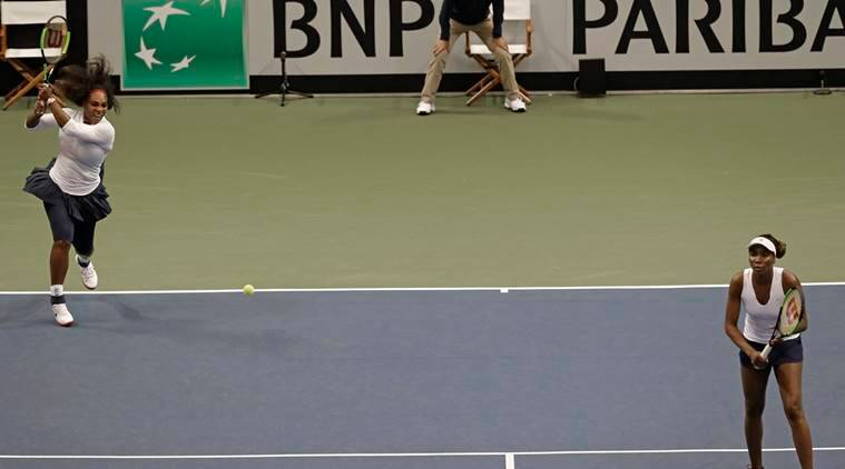 Serena and Venus Williams during the Fed Cup against Netherlands